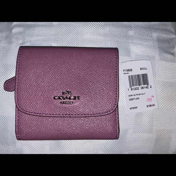 NWT Coach Small Wallet Glitter Crossgrain Leather